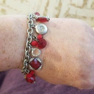 Red/Silvertone Beaded Charm Bracelet (WHBM)